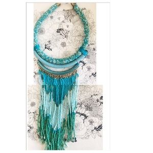 Turquoise Color Seed Bead Statement Necklace